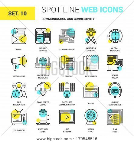 Vector set of communication and connectivity spot line web icons. Each icon with adjustable strokes neatly designed on pixel perfect 64X64 size grid. Fully editable and easy to use.