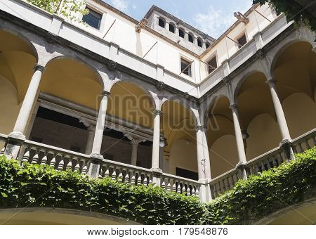 BARCELONA, SPAIN - JULY 12, 2016:Barcelona (Catalunya Spain): courtyard of the historic Palace of Lloctinent in the gothic quarter
