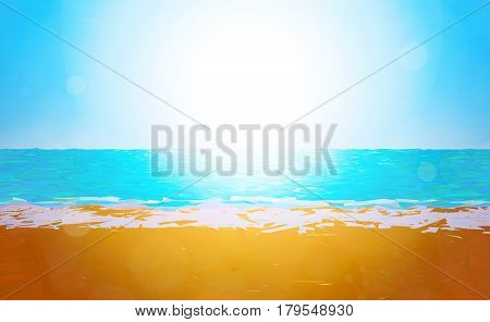 3D illustration - Low poly beach background