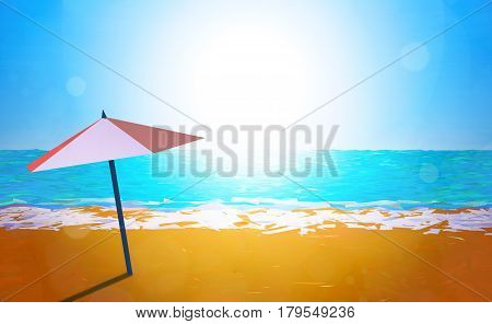 3D illustration - Umbrella on the beach