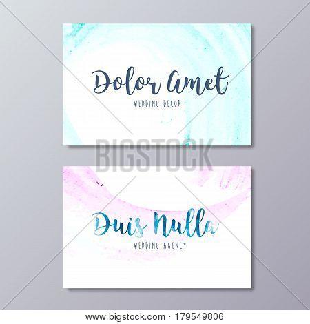 Premade Wedding Decor Business Card Design Vector Templates.