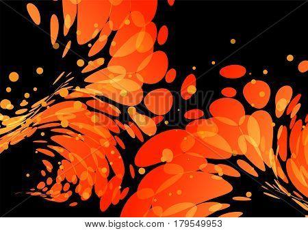 Splashing burning drops orange elements on black background