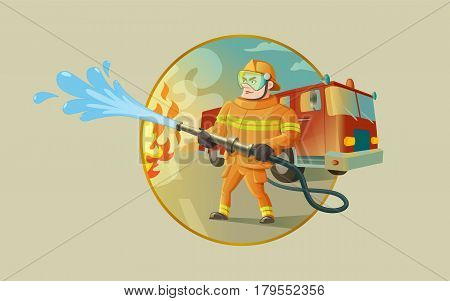 A confident fireman is putting out a fire. There is a fire truck on the background.