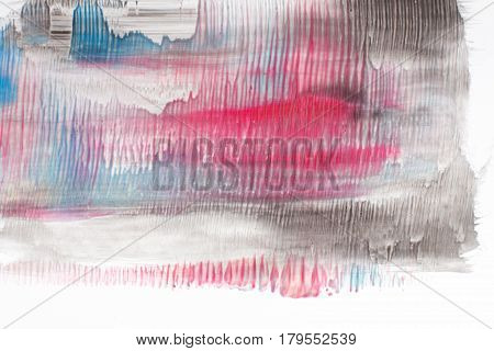Modern abstract painting, creative art. Black, blue and red gradient, smudge blurred colors on white background.