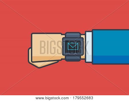 Businessman Hand with Mail Icon on Smartwatch - Vector Illustration