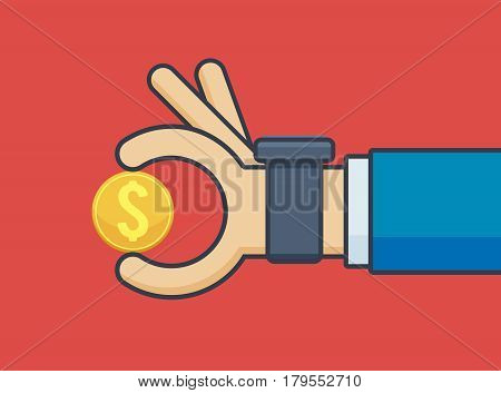 Businessman Hand with Smartwatch Holding Gold Coin - Vector Illustration