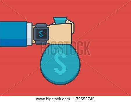 Businessman Hand with Smartwatch Holding Money Bag - Vector Illustration