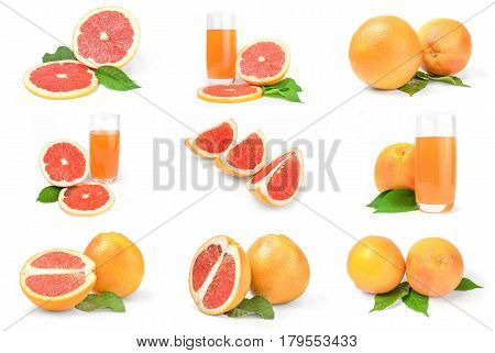 Collection of grapefruit isolated on a white background