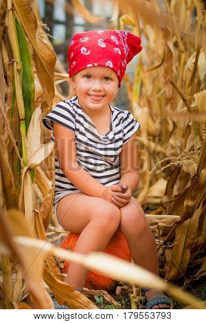 Happy Child In Red Bandana And Stripe Tee  Showing Tongue And Sits On A Pumpkinin The Cornfield. Dry