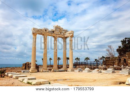 Ancient Roman Temple of Apollo in Side on the Mediterranean coast of Turkey.