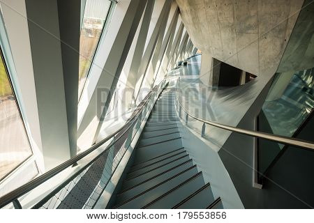 Interior Of The Mercedes Benz Museum In Stuttgart.