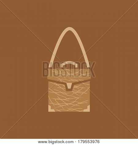 Suitcase icon. Leather fashion business or travel bag sign of brown color. Simple handbag object isolated, retail logo template. Freehand drawn flat symbol style. Vector illustration