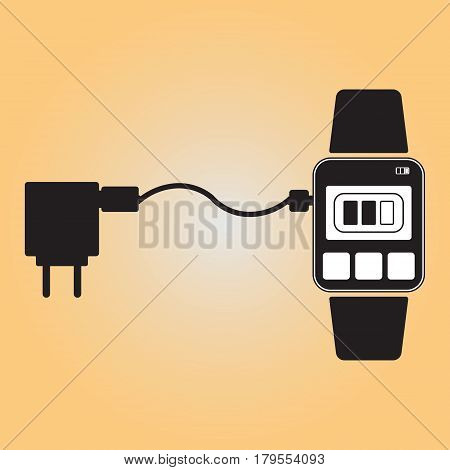 Charging smart watch flat vector icon. Recharging smart watch isolated vector sign. Charger to smart watch connection illustration. Recharging point vector symbol.