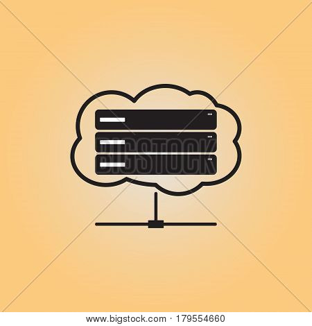 Server flat vector icon. Isolated server vector sign. Data center vector image. Database vector illustration.