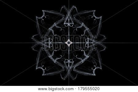 An image of a vintage drawing of gray lines representing a symmetrical flower with four petals and a white star in a circle in the middle with divergent rays against a black background.
