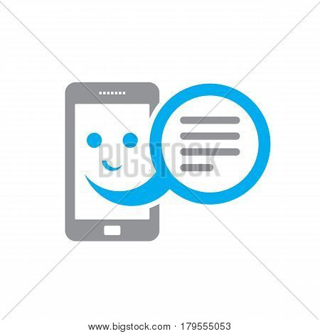 Smiling smartphone and message box - vector sign concept illustration. Telephone icon. Design element.