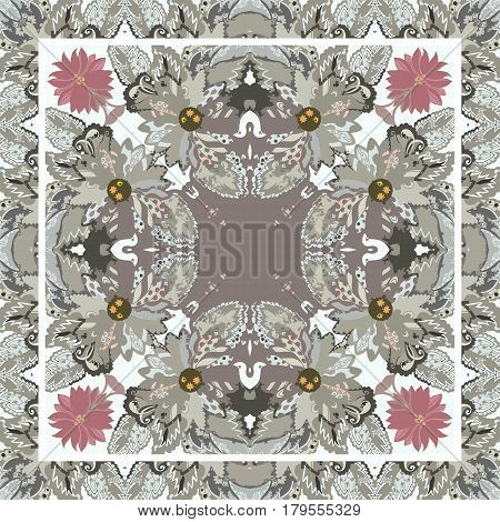 Beautiful bandana print with flowers and tracery of leaves in light brown, grey and pink tones. Stylized batik. Vector image. Lovely tablecloth.