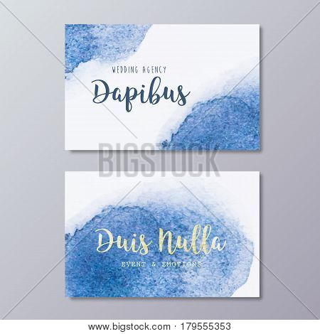 Premade wedding dress business card design vector templates. Hand drawn abstract blue watercolor spot texture and wedding branding identity.