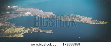 Aerial view of Port de Alcudia Mallorca Balearic islands.