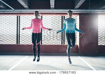 Young Pretty Sporting Girls Skipping