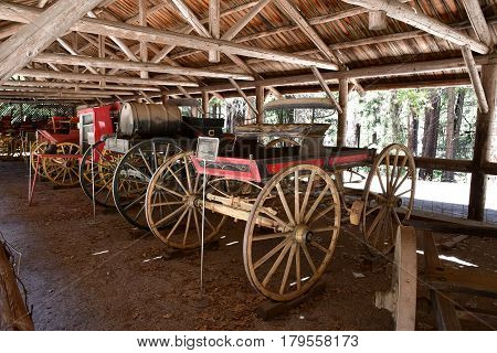 USA - july 12 2016 : horse drawn carriage in the Yosemite National Park