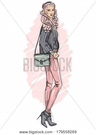 Vector beautiful fashion hipster girl dressed in jeans, sweater, ankle boots with bag over her shoulder, color sketch