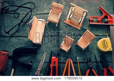 Diy Tools Background, Equipment Make Handmade Product