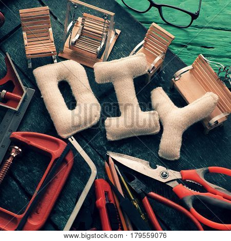 Diy Tools Background, Equipment Make Handmade Product