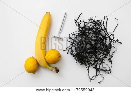 Banana Lemon Phallus Shape Razor Shave Balls Intimate Hygiene Sexy Potency Flat Lay Concept