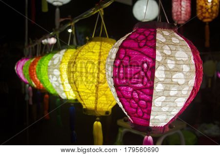 Hanging Variety Of Colorful Paper Lamp And Lantern Lighting Equipment Traditional Lanna Style