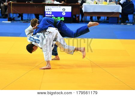 Orenburg, Russia - 21 October 2016: Boys Compete In Judo