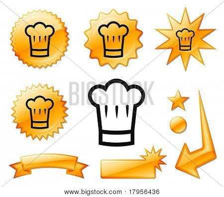 Chef Hat Icon on Orange Burst Banners and Medals Original Vector Illustration