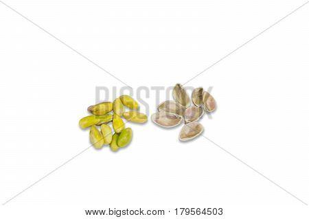 Pistachio on white background. Pistachio of Antep. Pistachio over white. Pistachio with shell. Pistachio isolated with white background. Peeled pistachio.