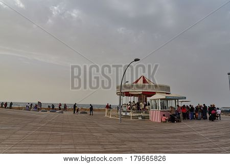 Tel Aviv - 20 February 2017: Tel Aviv Port At The Time Of The Purim Holidays