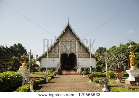Asian Thai People And Foriegner People Respect Praying In Ubosot And Walk Visit Chedi At Wat Phra Th