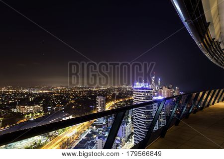 GOLD COAST, AUSTRALIA - MARCH 31 2017: Gold Coast apartment penthouse view from the balcony, looking from Broadbeach to Surfers Paradise