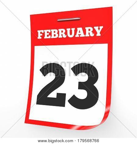 February 23. Calendar On White Background.