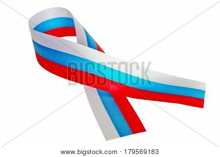 Tricolor ribbon isolated on a white background.