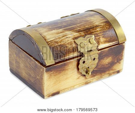 a picture of an old casket in the form of a chest made of bone with a metal yellow piping under the tree view light brown color isolated on white background