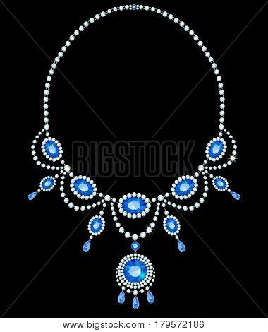 Necklace with sapphires in a frame of diamonds