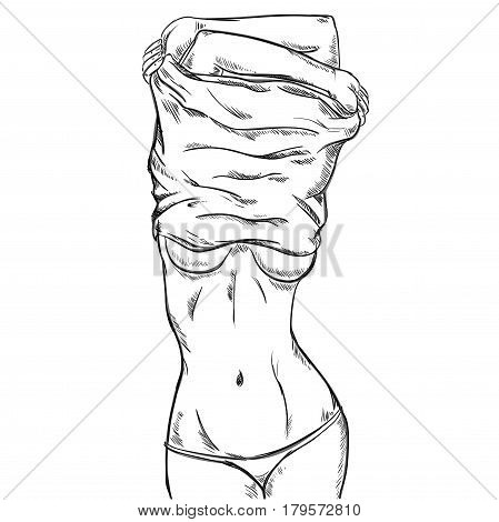 Sketch slim sexy woman with attractive body in panties taking off her shirt vector illustration