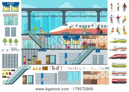 Flat train station infographic concept with people wagons baggage drinks and infrastructure elements vector illustration
