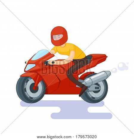 Flat red sport bike concept with man in helmet riding motorcycle on white background vector illustration