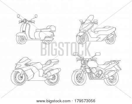 Linear motorcycles set with scooter moped sport and classic motorbikes in outline style isolated vector illustration