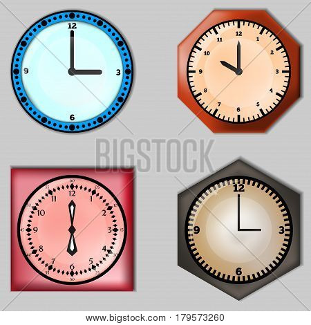Set of four clocks.Design of watches. A set of four wall clock. Element of design.