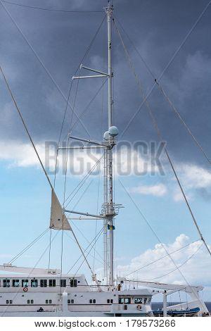 A five masted sailing ship docked in Bridgetown Barbados
