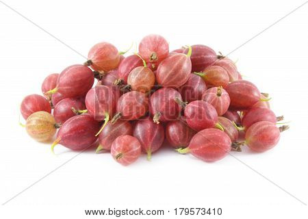 A handful of ripe berries of gooseberry isolated on white