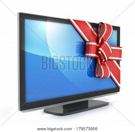 TV gift and bow on white background. 3d illustration