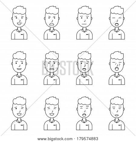 Boy face expressions flat outline style vector illustration set collection