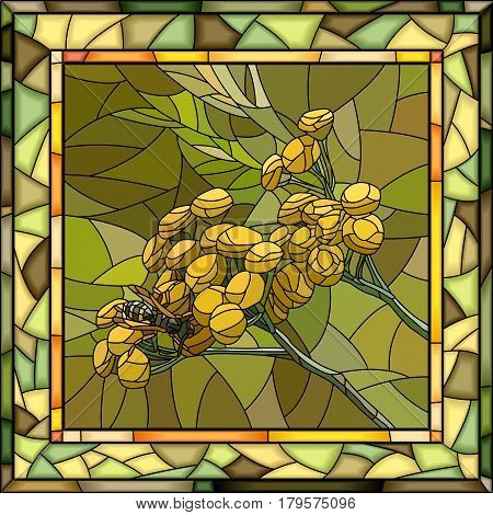 Vector mosaic of yellow tansy flowers in square stained-glass window frame.